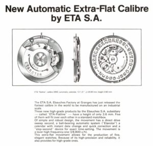 """New Automatic Extra-Flat Calibre by ETA SA"", Europa Star 97, 1976"